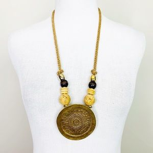 VINTAGE Boho Gold Disc Statement Necklace Artisan